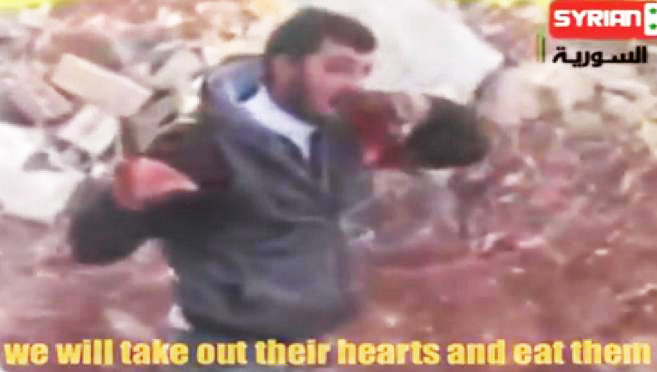 Syrian jihadist rebel eats the liver of his enemy