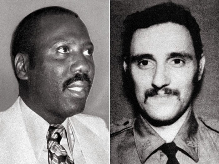 Lewis Dupree (L), the only suspect ever charged in the 1972 slaying of Officer Phillip Cardillo ® at a Harlem mosque, was acquitted