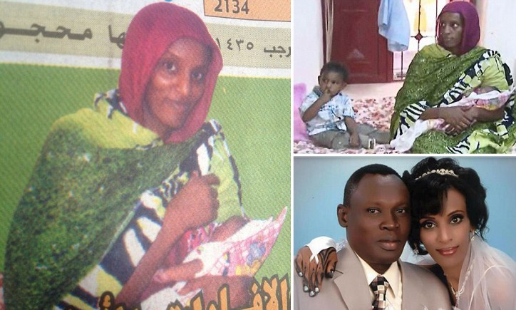Meriam Ibrahim, 27, looked much healthier at her wedding. What you don't see in these recent photos from the prison is that her feet are shackled to the floor