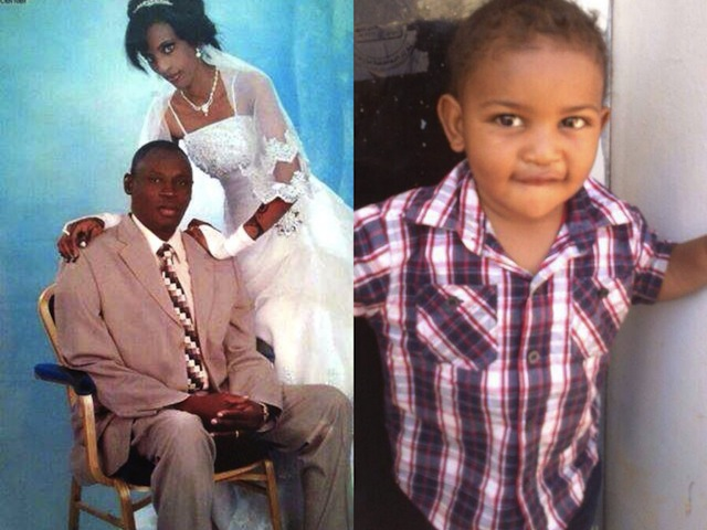 Meriam Yehya Ibrahim Ishag with her husband and young son