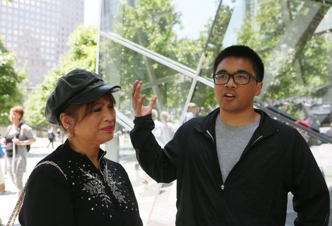 """Jane Soria, from San Francisco, with her son Adrian Cabreros. """"I think they should have talked about Islam more, just so people understand that there is a difference between Islam and people who do terrorist attacks but who also happen to be Islamic.""""  """"They just sort of said that the people from Al Qaeda wanted to have a more Islamic state, but it was hard to distinguish, to separate Islam itself. It kind of gives Islam a bad vibe."""""""