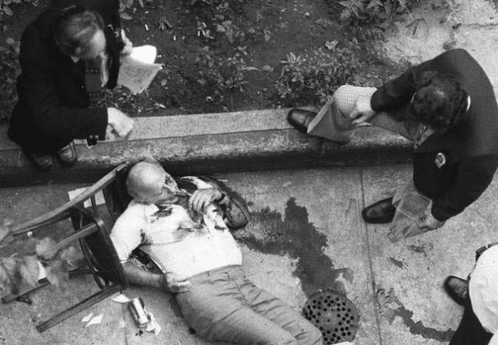 The dead body of Mafia boss, Carmine Galante, after he was gunned down in the backyard patio of Joe and Mary's Restaurant in the Bushwick section of Brooklyn