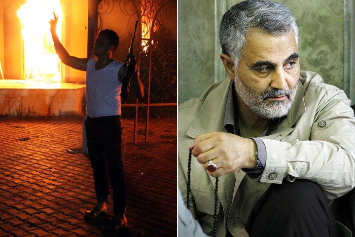 "According to the book ""Dark Forces,"" Major General Qasem Soleimani, right, was the powerful figure behind the 2012 attack on the US Consulate in Benghazi"
