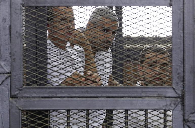 Al-Jazeera journalists Peter Greste, Mohammed Fahny, Baher Mohamed