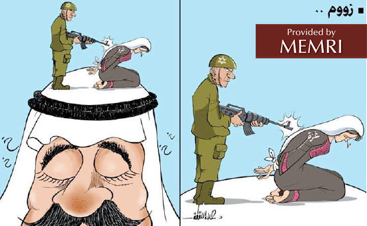 """The Israeli killing of """"Gaza"""" (""""zoom"""") (right) takes place atop the head of the Arab who closes his eyes"""