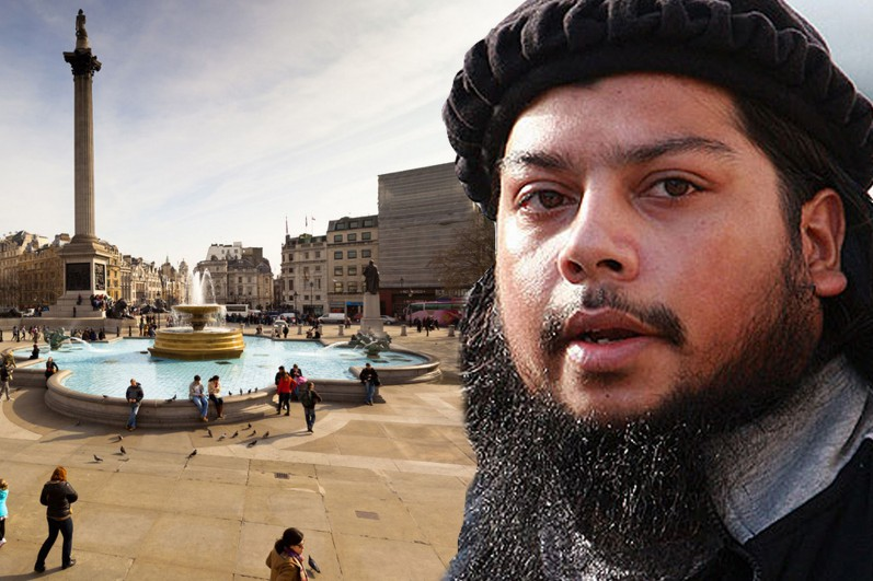 UK Muslim, Abu Rahin Aziz aka Abu Dugma al-Britani, fighting with ISIS in Syria used Twitter to threaten Downing Street will be a base for Muslims. Trafalgar Square is where public executions will take place. Army of Islamic State is coming.""