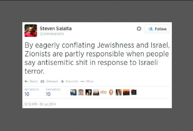 Twitter-@SteveSalaita-Zionists-partly-responsible-for-antisemitic-shit-Featured-image-e1405779415922-620x423