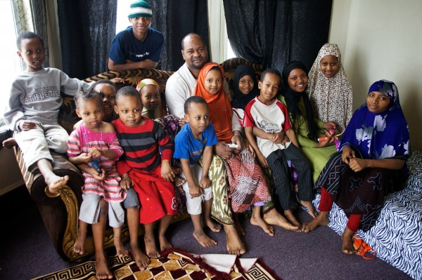 Typical size Somali Muslim family in America