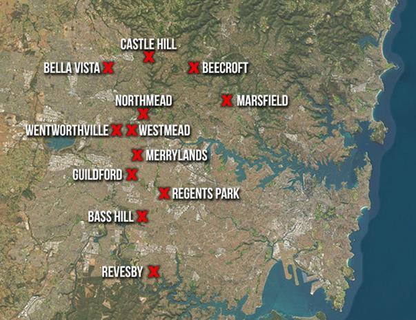 Locations of raids