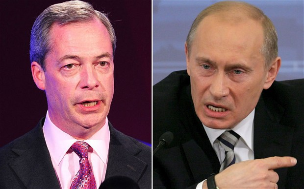 Nigel Farage UKIP and Vladimir Putin