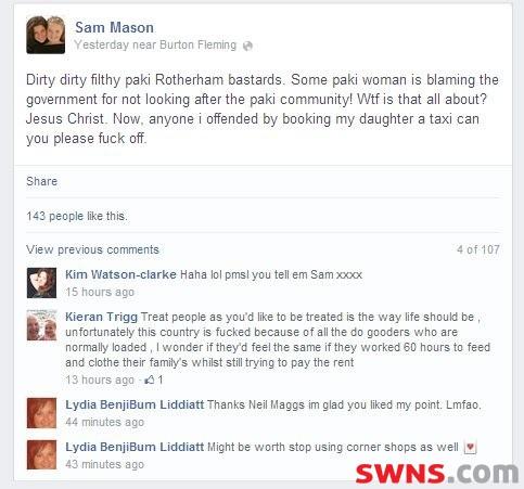 Sam-Mason-racist-Facebook-post