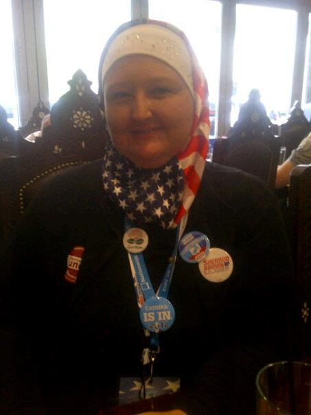 "American Muslim delegate Cathina Hourani in 2012 promoted herself as Ohio's first ""Hijabi"" delegate"