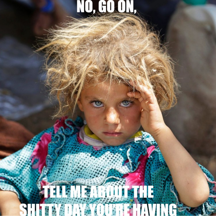 This little blonde girl is a Yazidi. There are many blonde-haired, blue-eyed Yazidis which makes ISIS hate them even more than other non-Muslims