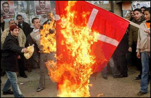 Muslims in Denmark  burn the Danish flag on National Flag Day for deployed soldiers and veterans