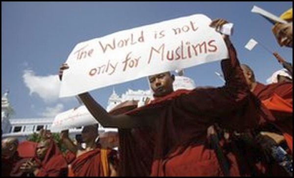 Buddhist monks protest presence of violent Muslims in Myanmar who rape their women and kill their monks