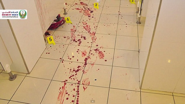 The crime scene was covered in the victim's blood
