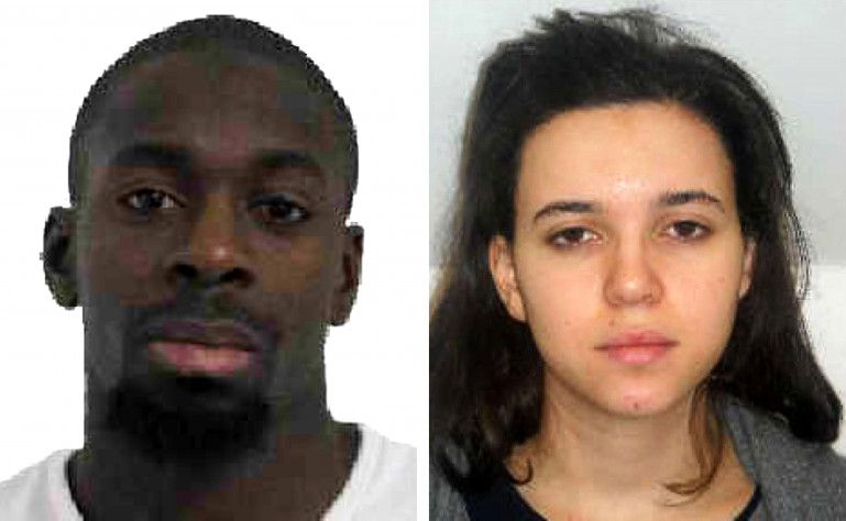 Kosher market gunman Amedy Coulibaly (left) and accomplice Hayet Boumddiene