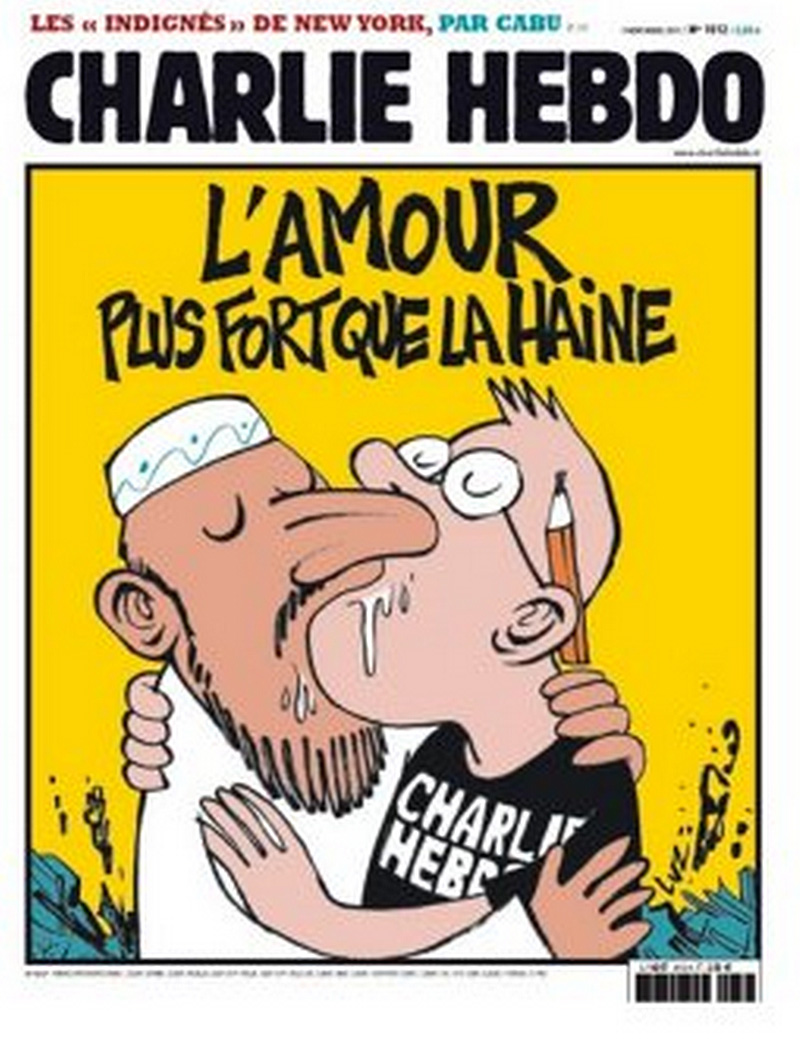 'Love is stronger than hate,' and features a Muslim man kissing a Charlie Hebdo cartoonist.