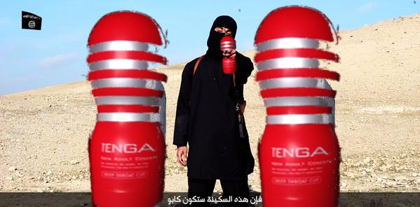 """Islamic State soldier and hostages holding Tenga """"onacup"""" sex toys!"""