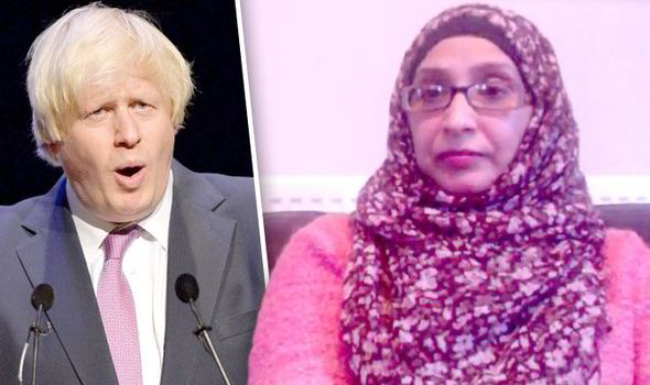 Boris Johson (left) & Muslim Women's Network Mussurut Zia (right)
