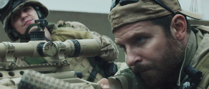The American Sniper was aiming at a Muslim woman with a bag on her head here. Duck!