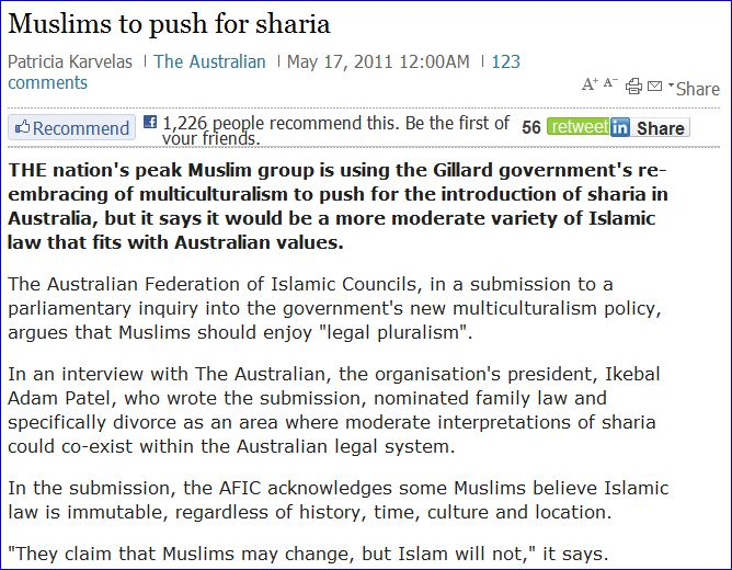 This is not the first time Muslims have been demanding sharia for Australia