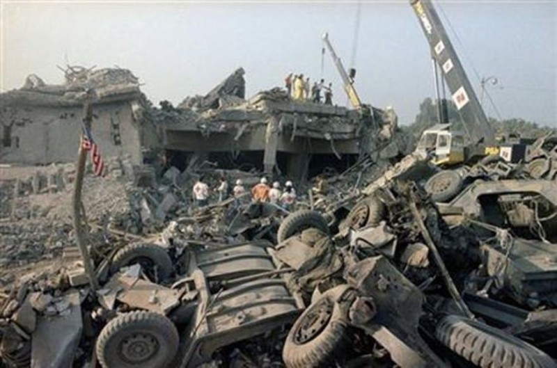 The aftermath of a suicide truck bombing of the U.S. Marines barracks in Beirut, Lebanon on Sunday, Oct. 23, 1983. The blast claimed the lives of 241 American service members.