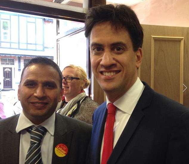Rochdale Labour councillor Shakil Ahmed, pictured with Ed Miliband