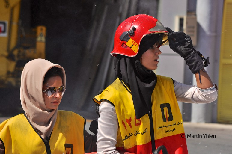 Gee, wearing Muslim headbags under your helmet is a sure way to set your hair on fire in as fire