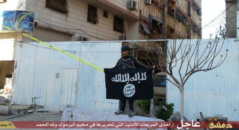 isis-fighters-poses-black-flag-sunni-militant-group-inside-yarmouk-camp
