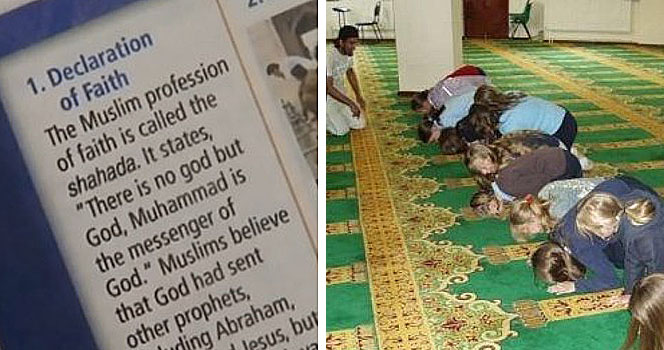 Non-Muslim school children being forced to pray to Allah on a mosque field trip