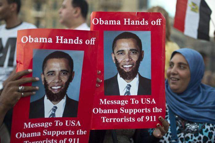پلاکاردهای ضد اوبامایی در تظاهرات امروز مصر