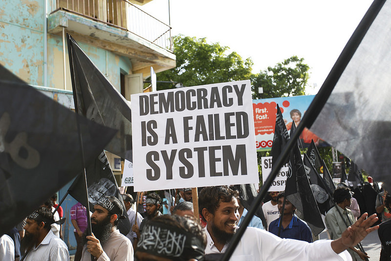 Anti-democracy, pro-Sharia public demonstration in 2014 in Maldives.