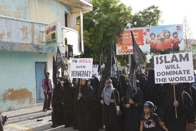 A_public_demonstration_calling_for_Sharia_Islamic_Law_in_Maldives_2014