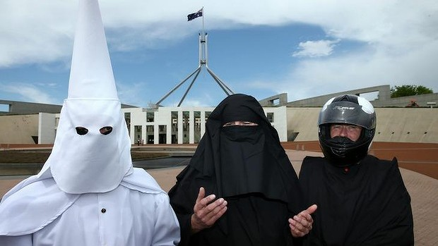 WEARING A MUSLIM HEADBAG IS LIKE WEARING A KKK HOOD