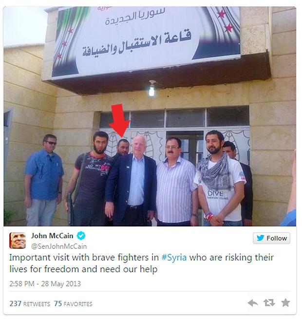 john-mccain-meets-with-syrian-rebels-isis-islamic-state-caliph-ibrahim-al-qaeda-islamic-state-2013-twitter