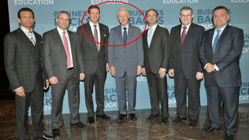 Bill Clinton launching Business Backs Education at the Global Education & Skills Forum 2014. (From left to right) Sunny Varkey, Chairman, Varkey GEMS Foundation; Hani Ashkar, Middle East Senior Partner, PwC; Majid Jafar, CEO Crescent Petroleum; President Clinton; Jim Hagemann-Snabe, CEO SAP; Iyad Malas, CEO of Majid Al Futtaim Group; Shaker Ismail, Senior Vice President, Abu Dhabi Islamic Bank