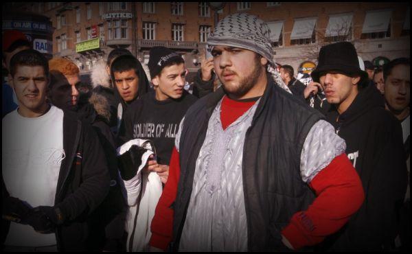 Muslim thugs gather on City Hall Square in Copenhagen, Denmark