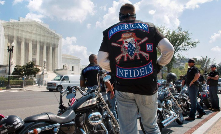 """Warfare?"" American Infidels motorcycle club in Washington DC participated in the   2MillionBikerstoDC  9/11 in 2013 tribute rally"