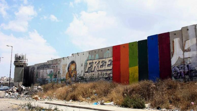 Mideast Palestinians Rainbow Flag-1