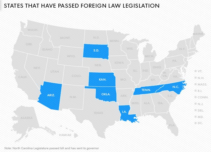 ANTI-SHARIA legislation passed in the above states in blue. Many others are pending