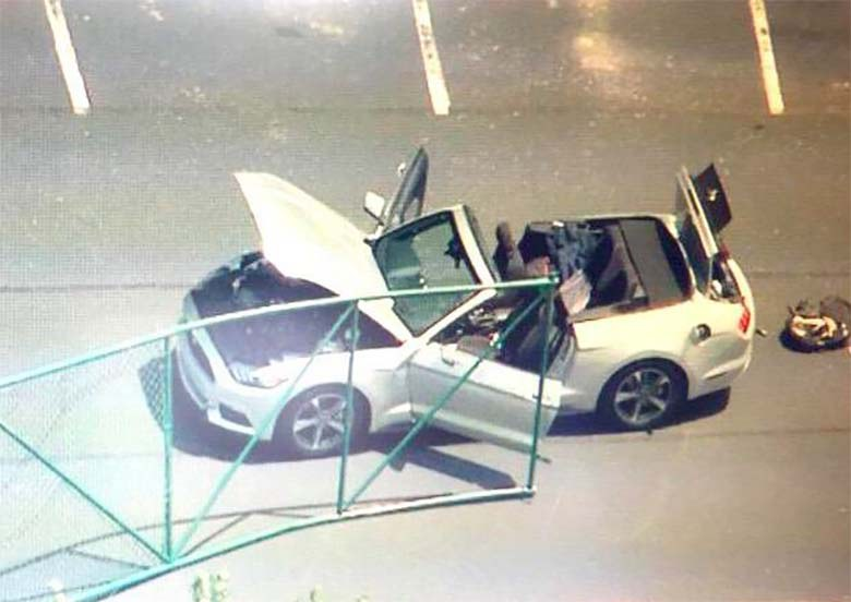 Above is a photo of the terrorist's silver Mustang, drop top that was described by onlookers.