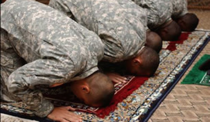 Muslims in the military , asses in the air thanking Allah for the glorious attack in Tennessee