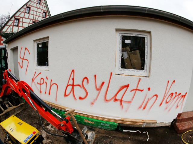 """No asylum seekers"" sprayed on the wall of a house in Vorra, Bavaria, during attacks on  refugee hostels"
