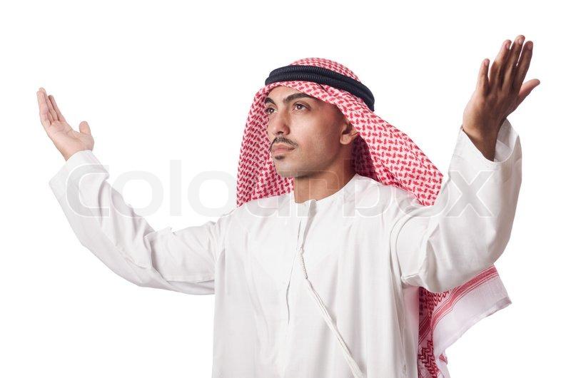 5152847-arab-man-praying-on-white