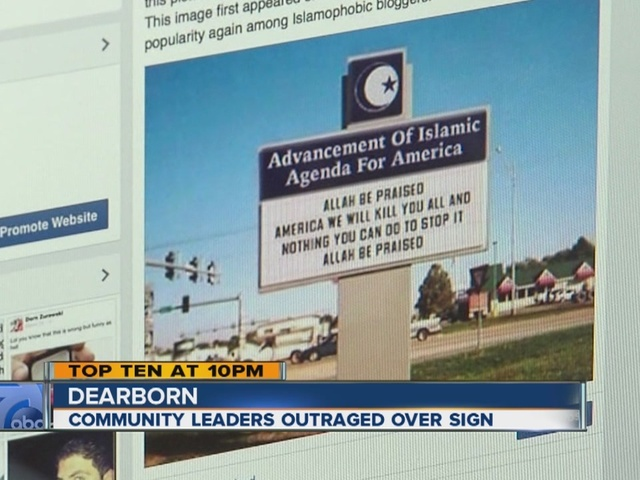 [Chaos disclosed DEARBORNISTAN | Muslims outraged over photoshopped sign showing what Muslims say behind your back]