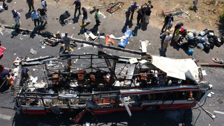 Scene of one of the Palestinian terrorist suicide bombings in Jerusalem which killed several Americans