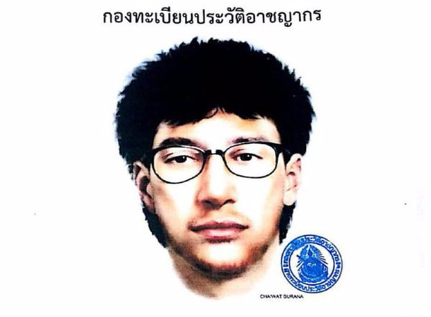 Artist sketch of Muslim-looking Bangkok bomber who left a backpack under a seat with the bombs in it