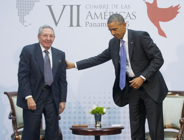 Raul Castro meets with Barack Hussein Obama