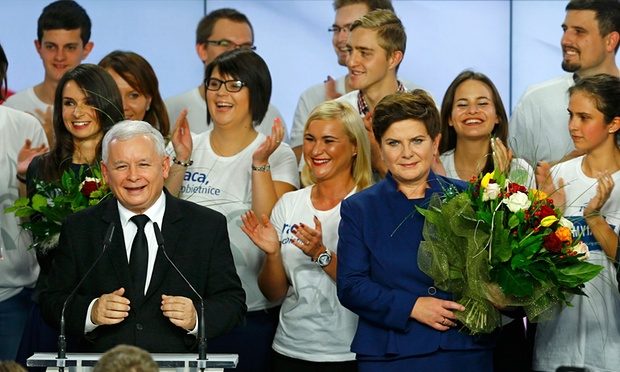 Jarosław Kaczyński (front left), leader of Poland's winning party, Law and Justice (PiS), and its candidate for prime minister, Beata Szydło (front right), celebrate after the exit poll results are announced in Warsaw.
